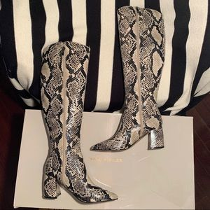 NWT Marc Fisher Knee High Snakeskin Boots
